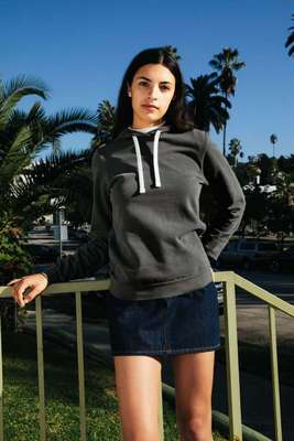 WOMEN'S FRENCH TERRY GARMENT DYED MID-LENGTH HOODIE